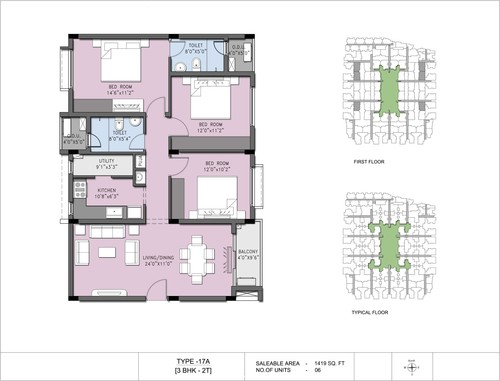 3BHK - Type 17A, 2.5BHK