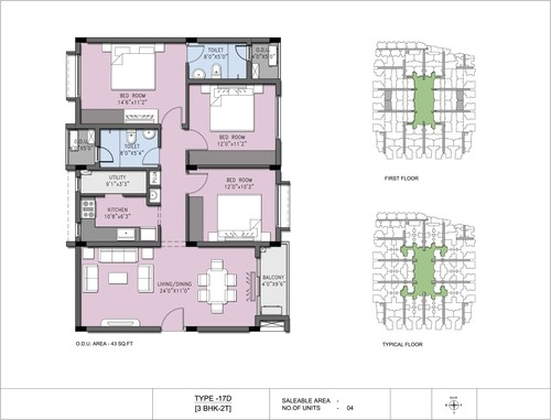 3BHK - Type 17A 1, 2.5BHK