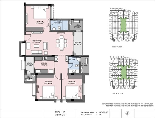 3BHK - Type 11 A, 2.5BHK