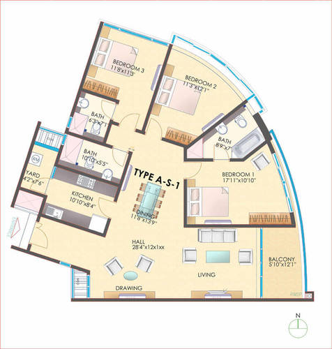 3BHK - 3 BHK Type A - S - 1