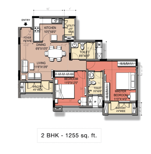 1243 to 1255 sq.ft