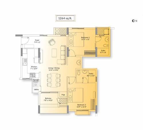 Appaswamy Splendor, Semmencheri - 2 BHK - 1264 sq.ft