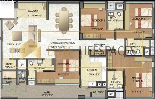 Elite Life Space in Express Avenue, Royapettah 3139 sqft 3bhk+ 3T