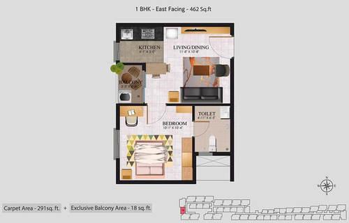 Jasmine Orchidsprings 1BHK East Facing 462 Sq.ft