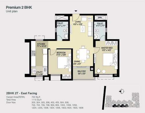 TVS Light House 2BHK + 2T 1115 Sqft