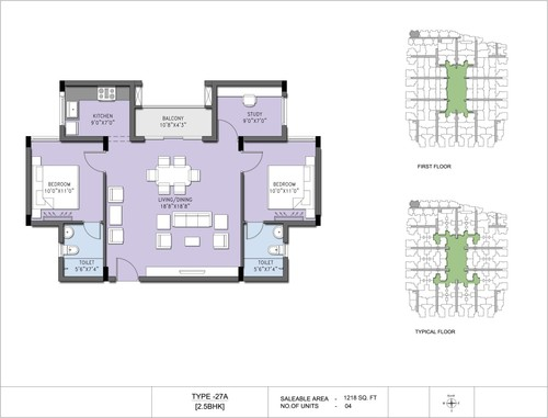 3BHK - Type 27A, 2.5BHK
