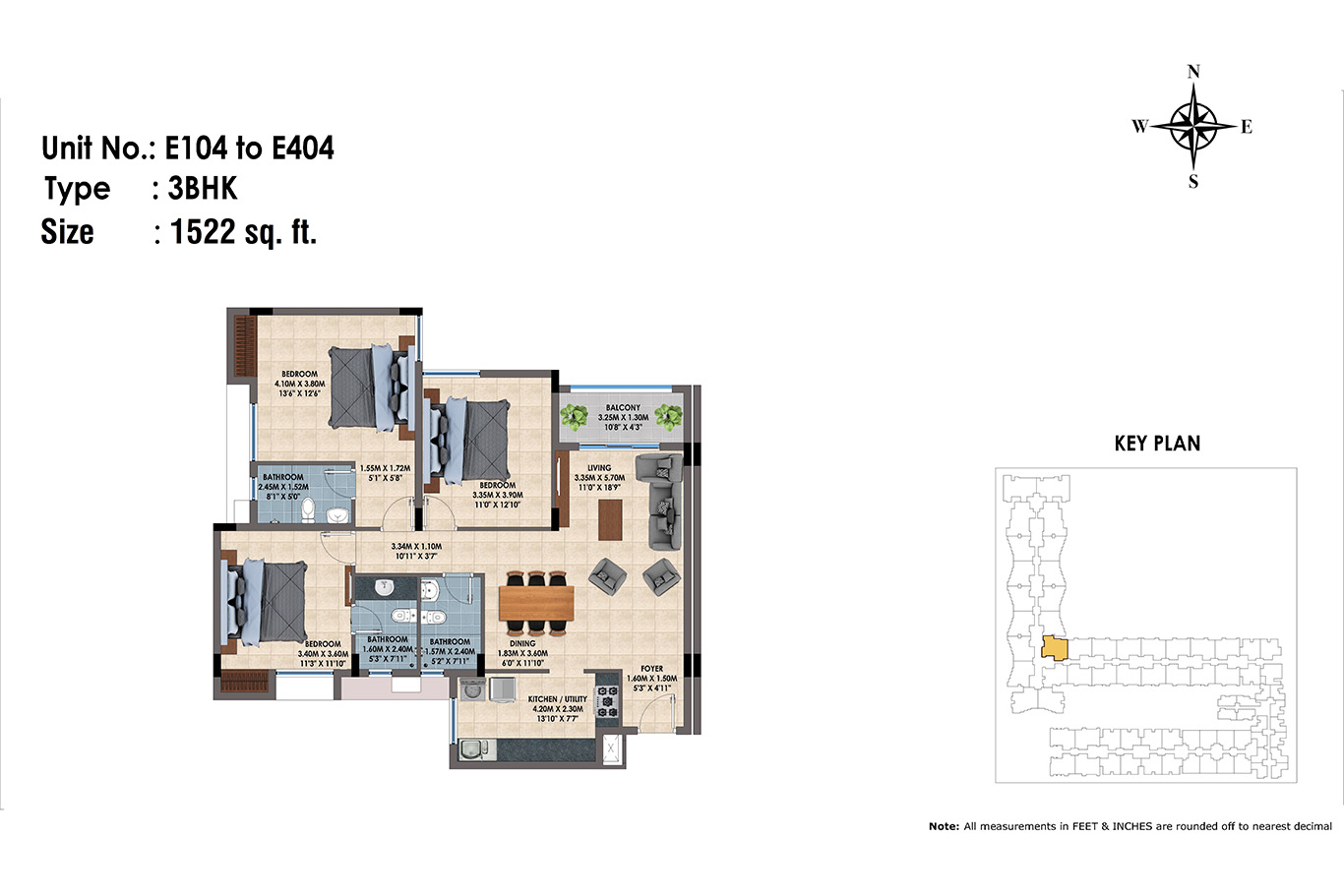 E104 to 404(3BHK)