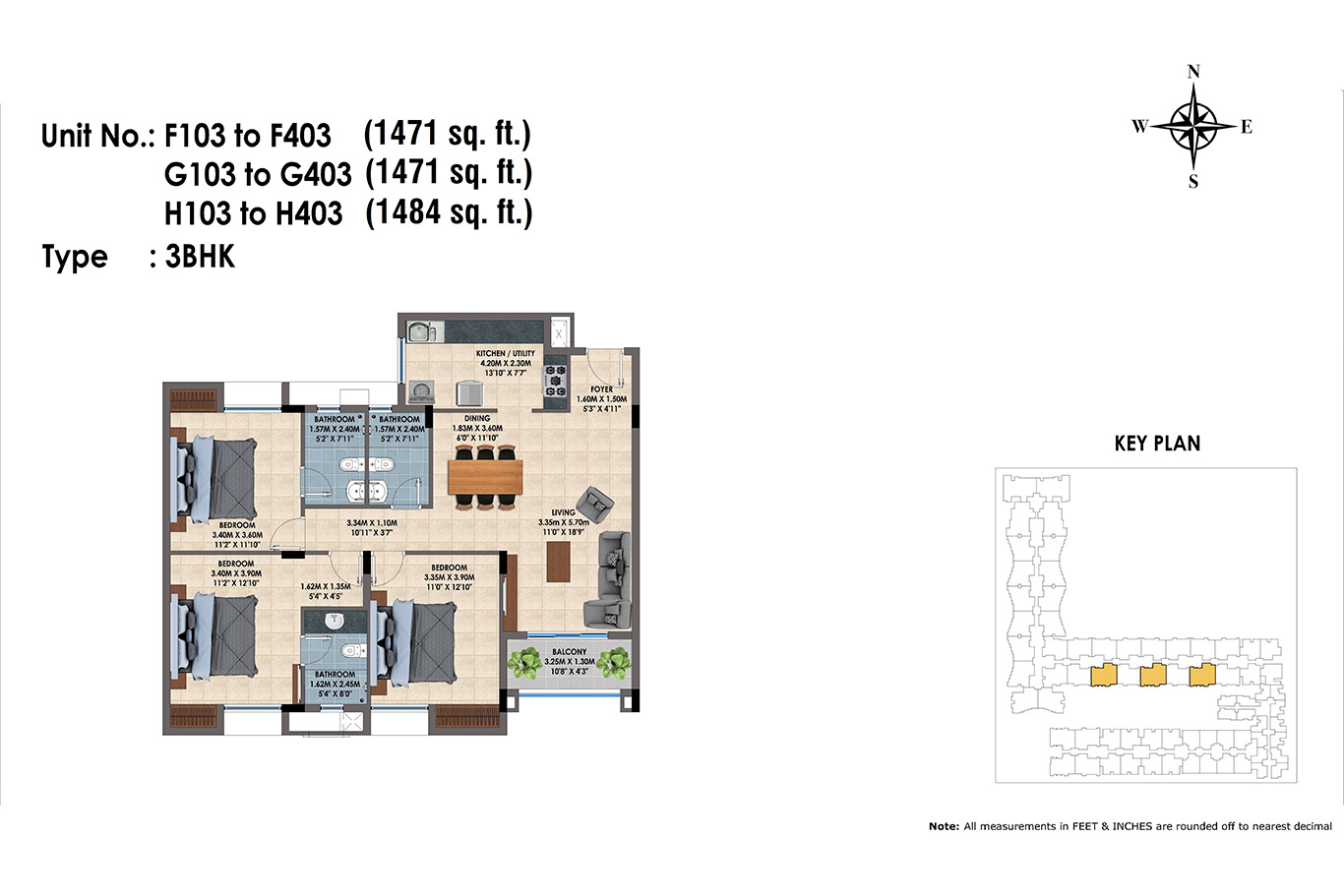 F,G,H 103 to 403(3BHK)