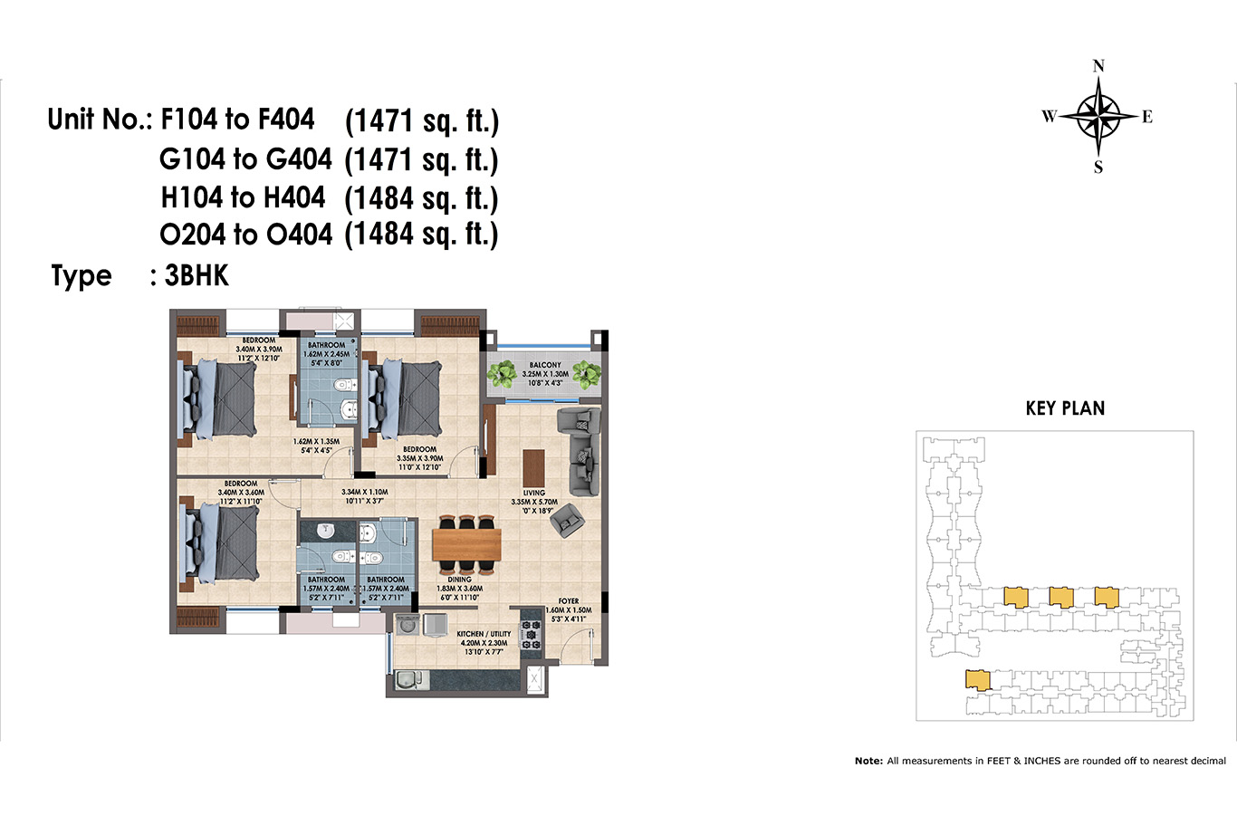F,G,H 104 to 404 & O 204 to 404(3BHK)