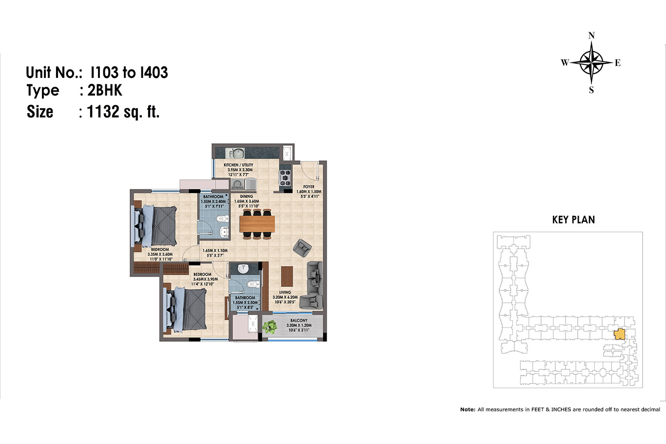 1103 to 1403(2BHK)