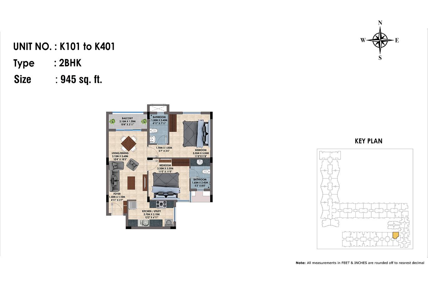 K101 to K401(2BHK)