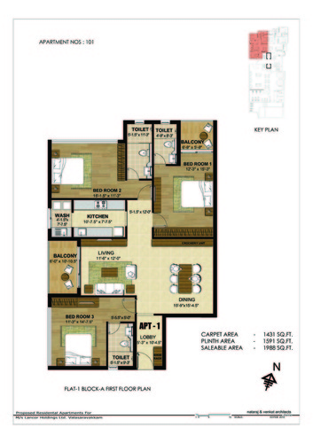 3BHK - Block A 3 BHK Type 1