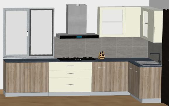 Classic Wood and White L-Modular Kitchen