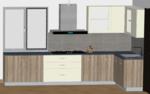 Classic Wood and White L-Modular Kitchen - Design 1