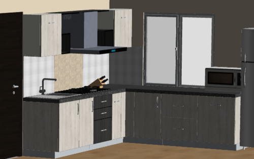 Woodlandl Single Tone L-Modular Kitchen