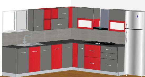 Black & Wood L-Modular Kitchen
