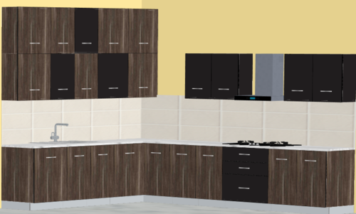 Darkstone Glossy L-Modular Kitchen