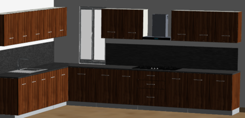 Full Wood Spacious L-Modular Kitchen