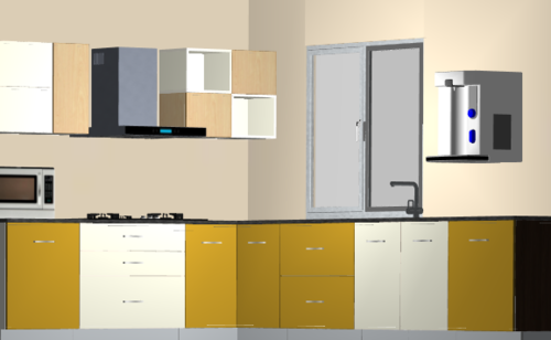 Sunset 3-Tone L-Modular Kitchen