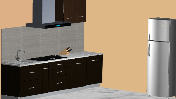 Darkwood Straight L-Modular Kitchen