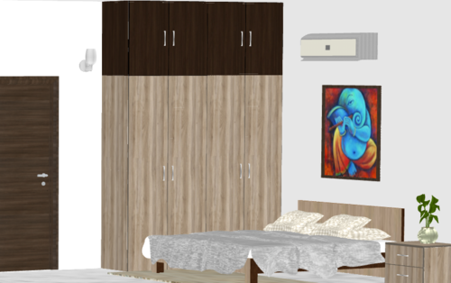 Dual Color Wooden Wardrobe with Loft