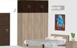 Dual Color Wooden Wardrobe with Loft - Design 1