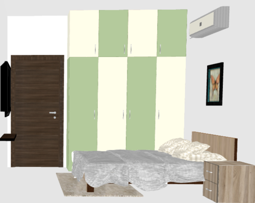 Pastel & Cream Wardrobe with Glossy Finish