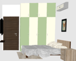 Pastel & Cream Wardrobe with Glossy Finish - Design 1
