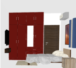 SIngle Tone Wooden Wardrobe with Dresser - Design 1