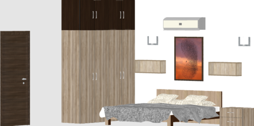 Standalone Light Color Wooden Wardrobe