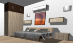 Standalone Light Color Wooden Wardrobe  - Design 3