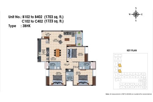 B102 to B402, C102 to C402(3BHK)