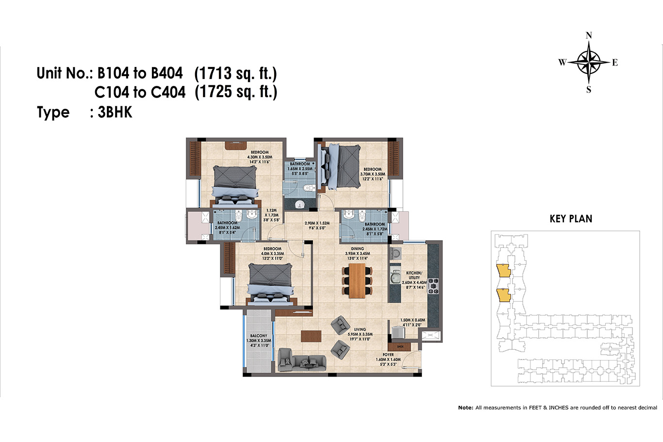 B104 to B404, C103 to C403(3BHK)