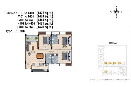 E,F,G,H,O 101 to 401(3BHK)