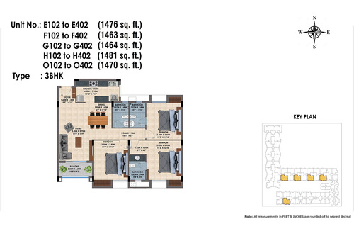 E,F,G,H,O 102 to 402(3BHK)