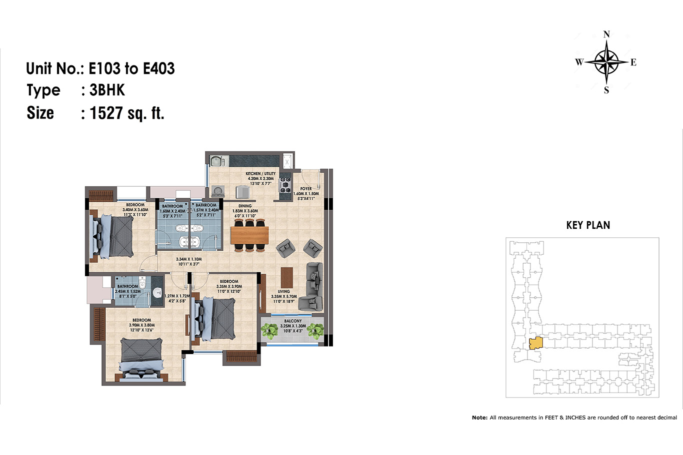 E103 to 403(3BHK)