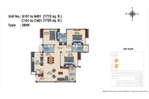 B101 to B401, C101 to C401(3BHK)