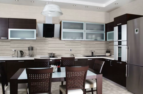 L Modular Kitchen with Fridge - Design 1