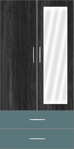 2 Door Wardrobe Design with external drawers and mirror| Hinds Black Oak and Polar Blue