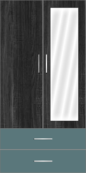 2 Door Wardrobe with external drawers and mirror| Hinds Black Oak and Polar Blue - Design 2