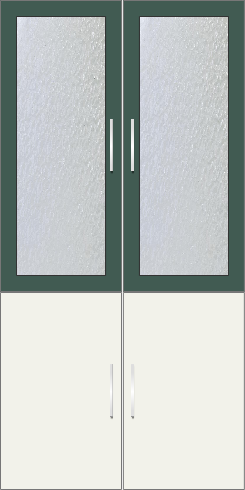 2 Door Wardrobe with frosted glass| Hunter Green and White Metal