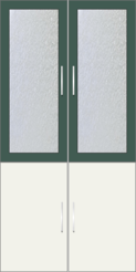 2 Door Wardrobe with frosted glass| Hunter Green and White Metal - Design 2