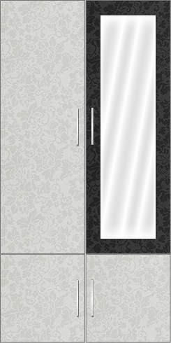 2 Door Wardrobe Design with mirror |Misty Dreams White and Misty Dreams Black