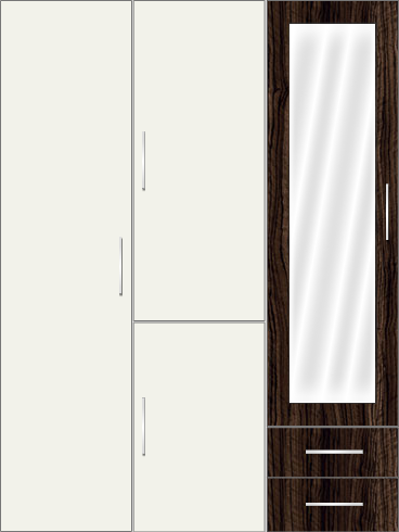 3 Door Wardrobe with external drawers and frosted glass| White Metal