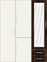 3 Door Wardrobe with external drawers and frosted glass| White Metal - Design 1