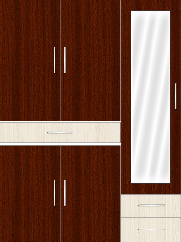 3 Door Wardrobe with external drawers and mirror |Mahagony and Comely Teak