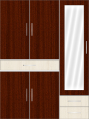 3 Door Wardrobe Design with external drawers and mirror |Mahagony and Comely Teak - Design 2