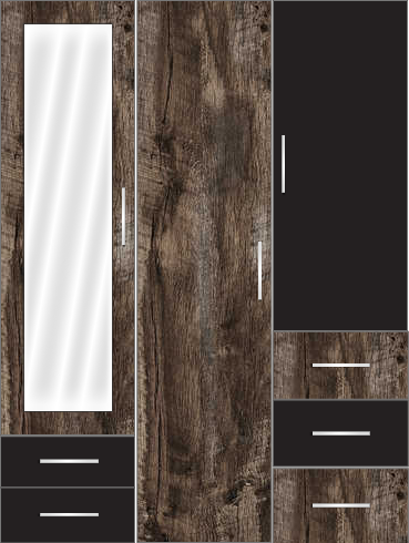 3 Door Wardrobe with external drawers and mirror | Pearl Black and Brown Woodscar