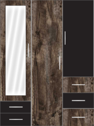 3 Door Wardrobe with external drawers and mirror | Pearl Black and Brown Woodscar - Design 2