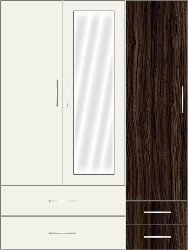 3 Door Wardrobe with mirror and external drawers| White Metal